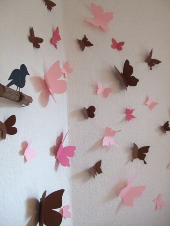 3d butterfly wall decals set of 30 for Butterfly wall mural stickers