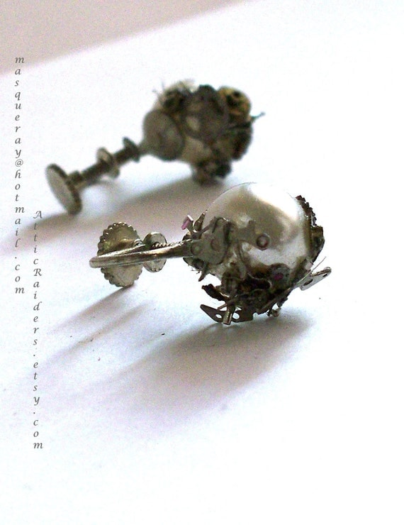 RESERVED for ALLIE - Industrial Punk Pearl Earrings - Screw on -Business  -Non Pierced Ears
