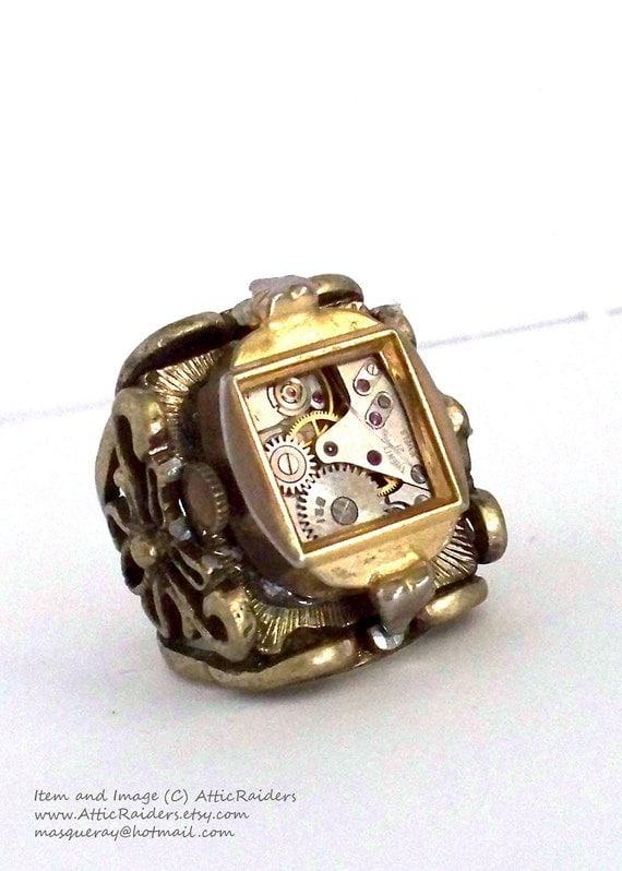 Mens Steampunk Ring -Machine -Wind up - Mechanical Watch -Vintage -OOAK