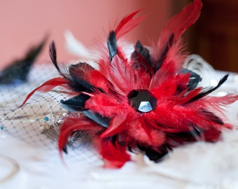Wedding red and black fascinator hair clip comb feathers and net birdcage veil