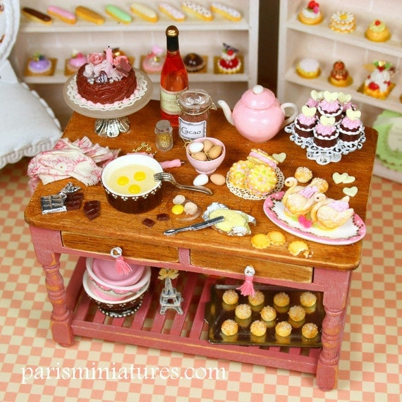 Busy Pâtisserie Baking Table - UNIQUE - Handmade French Dollhouse Miniature