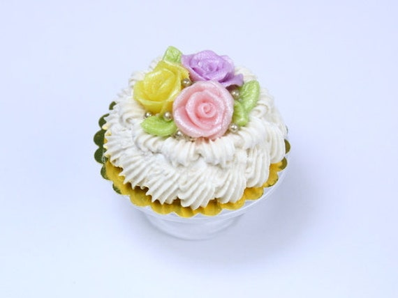 Pastel Shades Rose Cream Cake - French Miniature Food in 12th Scale