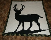 Stag Deer with Camouflage Trimming Crochet Afghan Blanket Throw
