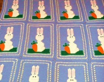EAster bunny rabbits hand crocheted afghan Easter bunny afghan very cute