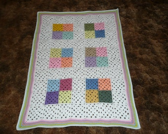 Baby Rainbow Quilted Patchwork Scrap Crochet Afghan Throw -GREAT for any BABY-