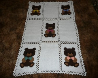 Baby Bears with Different Color Bows - So Sweet - Crochet Afghan Blanket Throw
