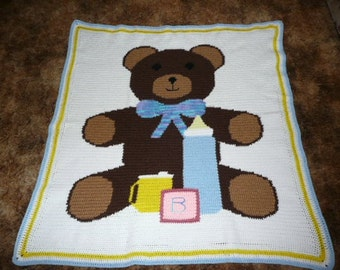 Baby Bear With Baby Bottle and Blocks Crochet Afghan Blanket Throw