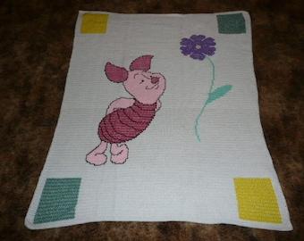 Disneys Piglet with Flower - So Sweet - Crochet Afghan Blanket Throw