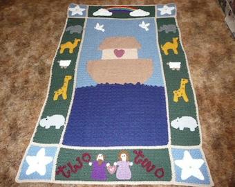 Noah's Ark - Two by Two - Crochet Afghan Blanket Throw