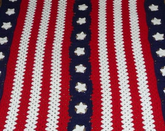 Red White and  Blue with Stars -Very Patriotic - Crochet Afghan Blanket Throw