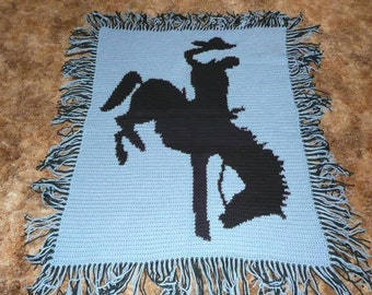 Rodeo Cowboy - Bronco Rider - Crochet Afghan Blanket Throw - Cowboy Up -