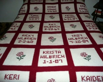 Family Album hand crocheting Afghan-made to order- any color - beautiful
