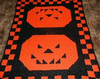 Quilted Patchwor  -Halloween Pumpkins-  Hallween Afghan Crochet Blanket Throw