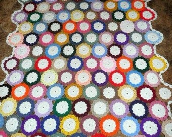 Multicolor Medallions  Circles - So Beautiful - Crochet Afghan Blanket Throw
