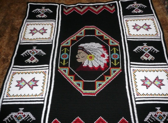 Indian Head hand Crocheted afghan  aghans throw  - beautiful colors-
