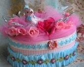 pink blue trinket jewelry box embellished bird roses flowers glitter lace silver marie antoinette