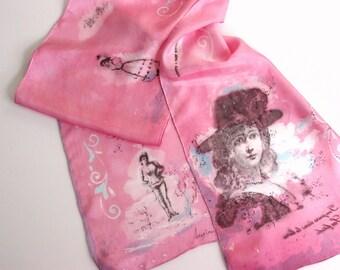 silk scarf pink  Marie Antoinette