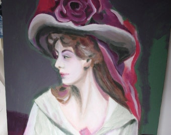 painting portrait lady Hat rose Acrylic Original Canvas Signed by Artist