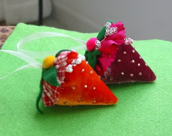 Strawberry pincushion ornament pink velvet silk bead