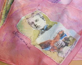 Pink shawl  Silk Scarf boys handpainted handprinted beaded