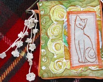 Purse bag silk embroidered original Collaged  Orange cat