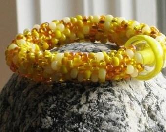 Marigold bead crochet bracelet..FREE SHIPPING...................