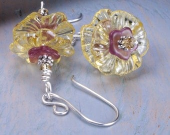 Yellow pink flower earrings lucite flowers silver plated wires