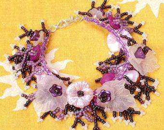 Pink purple white lucite flower bracelet.