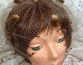 Vintage Whimsey Veil with Mink Tufts and velvet - light brown