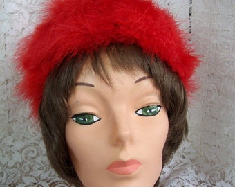 VINTAGE  Red Mariboo Hat - Red Hat Ladies  semi cloche style with Feathers and Mariboo