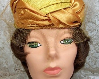Vintage Satin and Brocade Cocktail hat with Veil - Bold Gold Color