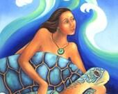 Turtle Woman - Goddess Art Print