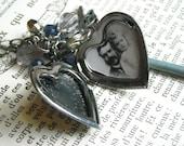 Skeleton key with heart shaped locket