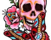 Pink Skull Tattoo Style Art Print