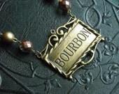 Bourbon liquor label pendant necklace