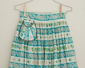 Reserve for Denise - Vintage Mid Century Turquoise Rose Floral Stripe Pintucked Pleated Half Apron