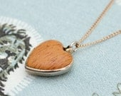Vintage Sarah Coventry Goldtone Faux Wood Puffy Heart Pendant and Necklace