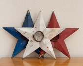 Vintage Cast Iron Metal Stars in Red White and Blue Candle Holders