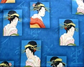 On SALE BTY JAPANESE Portrait Fabric in Blue, 1 Yard
