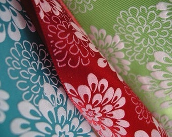 4 YARDS MIX OR MATCH SET OF CHRYSANTHEMUM WEDDING SATIN RIBBON - 1 1/2 inch