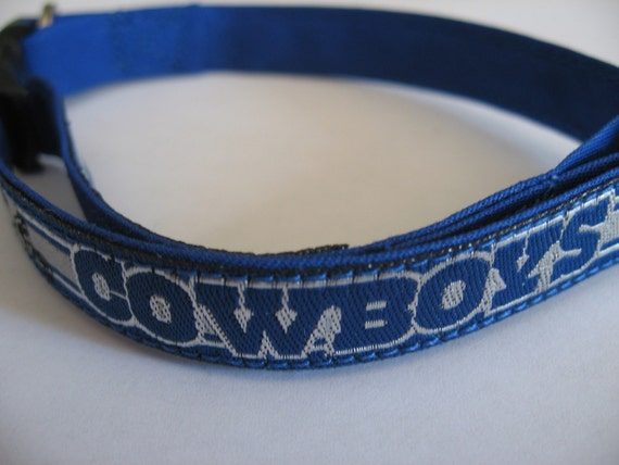 Dallas Cowboys Cat or Small Dog Collar w/ Blue or Pink Backing