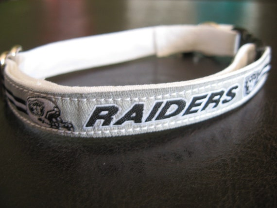 Oakland Raiders Cat or Small Dog Collar with Option of White, Black or Pink Background