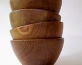 Four Vintage Wooden Bowls