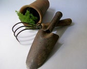 Vintage Gardening Tools Trowel and Cultivator
