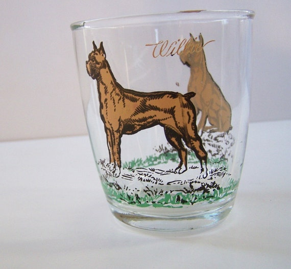 Willie The Dog Drinking Glasses Boxer By Lovelyhomevintage