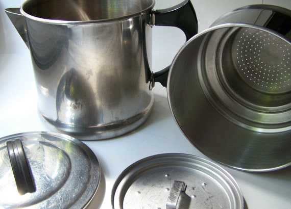 Vintage Stainless Steel Drip Coffee Pot
