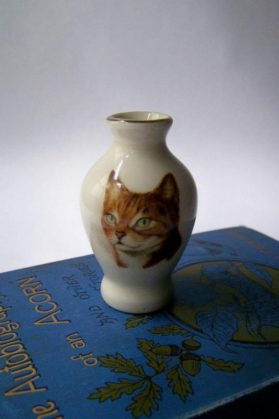 Miniature Vintage Vase with Cat Image