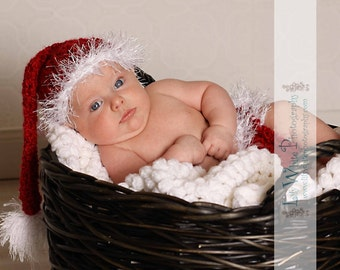 Santa Elf Style Hat and Diaper Cover Set- Great Photography Prop