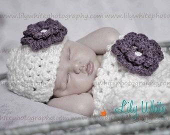 Cream Newborn Cocoon and Hat with Rhinestone Flower   RTS