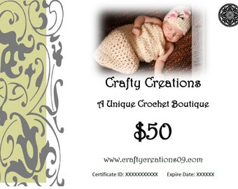 The Gift of Hand Crocheted Hats and More- 50 Dollar USD Gift Certificate